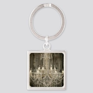 shabby chic rustic chandelier Square Keychain