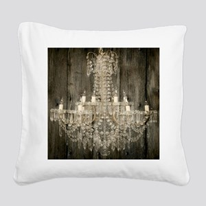 shabby chic rustic chandelier Square Canvas Pillow