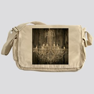 shabby chic rustic chandelier Messenger Bag