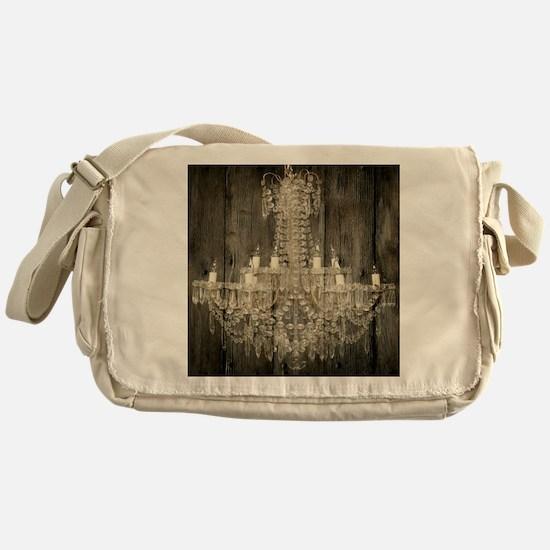 shabby chic rustic chandelier Messenger Bag