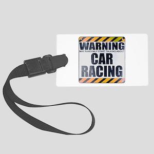 Warning: Car Racing Large Luggage Tag