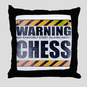 Warning: Chess Throw Pillow