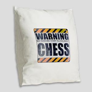 Warning: Chess Burlap Throw Pillow