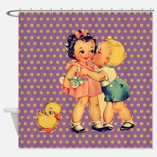 purple polka dots retro kids Shower Curtain