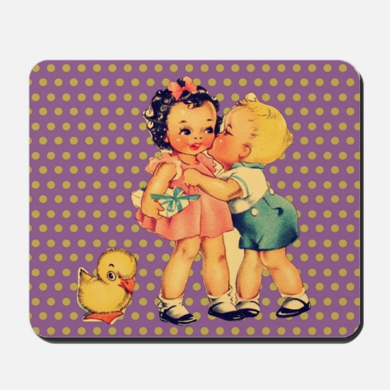 purple polka dots retro kids Mousepad