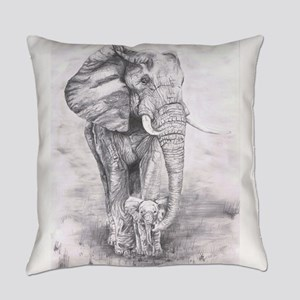 African Elephants Everyday Pillow