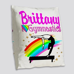 LOVELY GYMNAST Burlap Throw Pillow