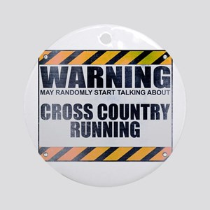 Warning: Cross Country Running Round Ornament