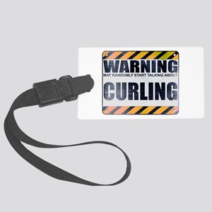 Warning: Curling Large Luggage Tag