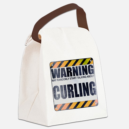 Warning: Curling Canvas Lunch Bag