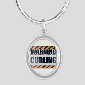 Warning: Curling Silver Oval Necklace