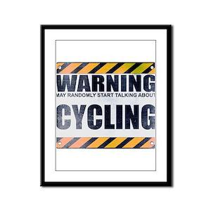 Warning: Cycling Framed Panel Print
