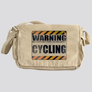 Warning: Cycling Canvas Messenger Bag