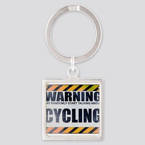 Warning: Cycling Square Keychain