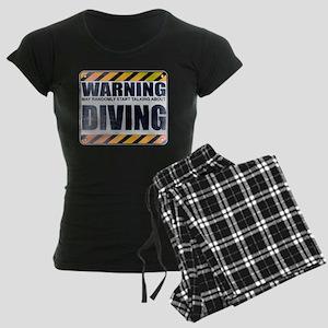 Warning: Diving Women's Dark Pajamas