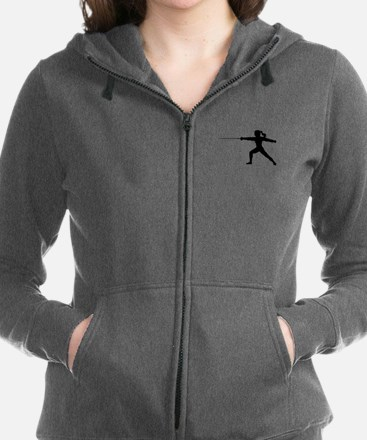 Girl Fencer Lunging Women's Zip Hoodie