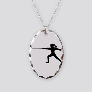 Girl Fencer Lunging Necklace Oval Charm