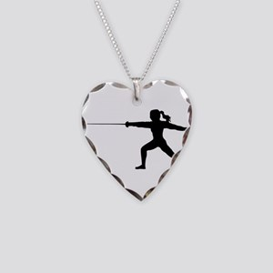 Girl Fencer Lunging Necklace Heart Charm