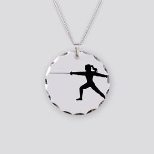 Girl Fencer Lunging Necklace Circle Charm