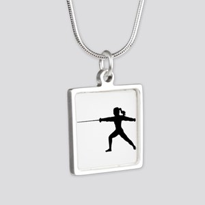 Girl Fencer Lunging Necklaces