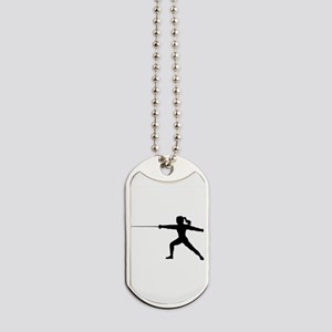 Girl Fencer Lunging Dog Tags