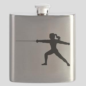 Girl Fencer Lunging Flask