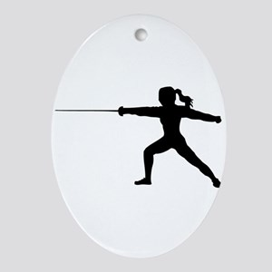Girl Fencer Lunging Oval Ornament