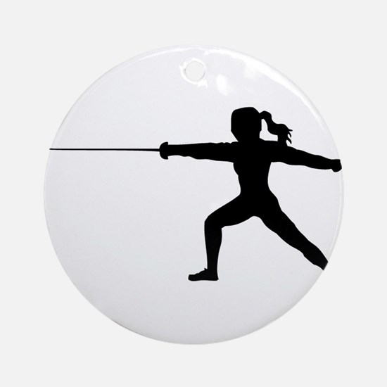 Girl Fencer Lunging Round Ornament