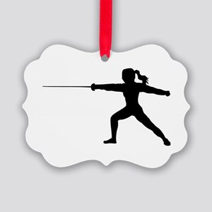 Girl Fencer Lunging Picture Ornament