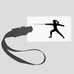 Girl Fencer Lunging Large Luggage Tag