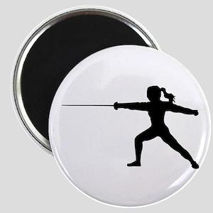 Girl Fencer Lunging Magnets