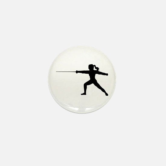 Girl Fencer Lunging Mini Button