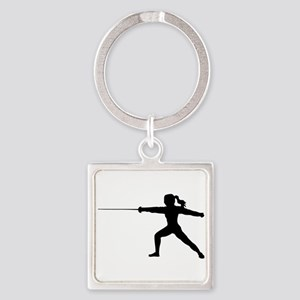 Girl Fencer Lunging Keychains