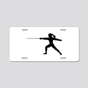 Girl Fencer Lunging Aluminum License Plate