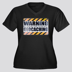 Warning: Geocaching Women's Dark Plus Size V-Neck
