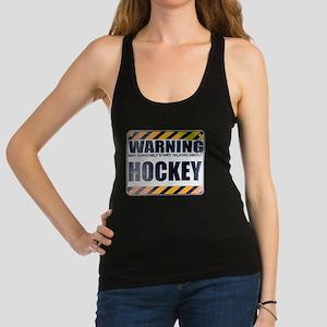 Warning: Hockey Dark Racerback Tank Top