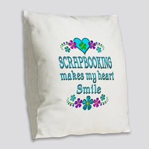Scrapbooking Smiles Burlap Throw Pillow