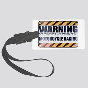 Warning: Motorcycle Racing Large Luggage Tag