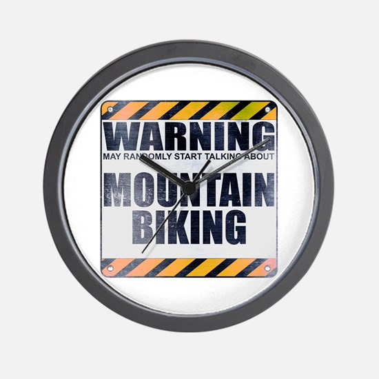 Warning: Mountain Biking Wall Clock