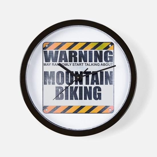 Warning: Mountain Biking Wall Clock