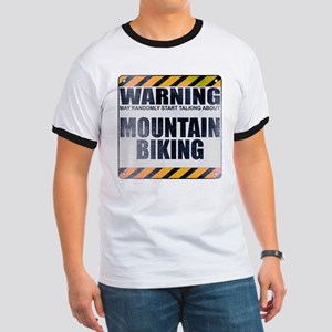 Warning: Mountain Biking Ringer T-Shirt