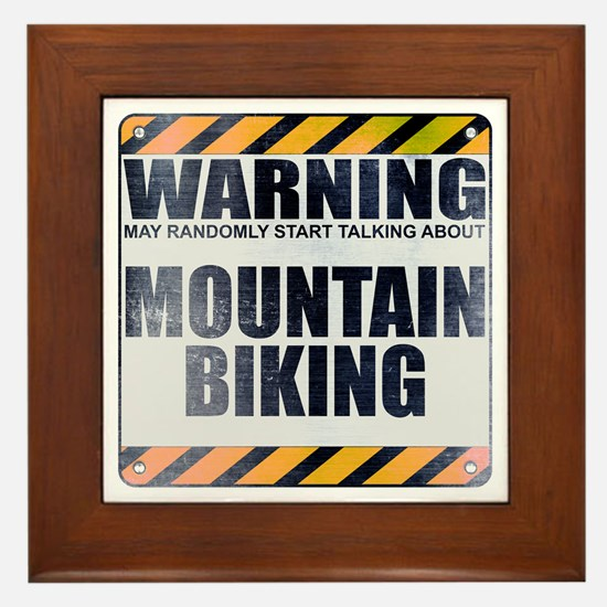 Warning: Mountain Biking Framed Tile