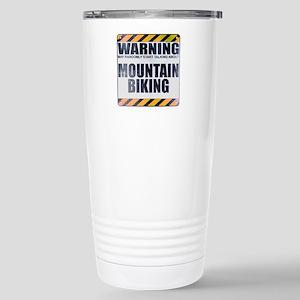 Warning: Mountain Biking Ceramic Travel Mug