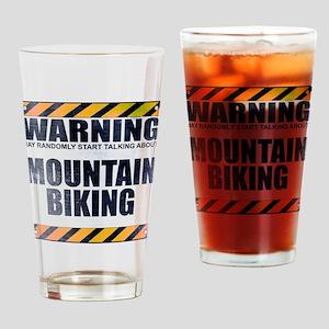 Warning: Mountain Biking Drinking Glass