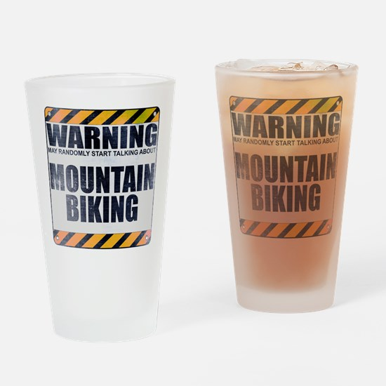 Warning: Mountain Biking Drinking Glass