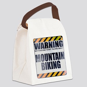 Warning: Mountain Biking Canvas Lunch Bag