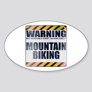 Warning: Mountain Biking Oval Sticker