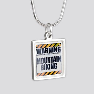 Warning: Mountain Biking Silver Square Necklace