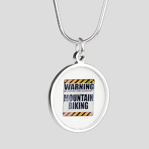 Warning: Mountain Biking Silver Round Necklace