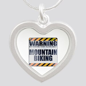 Warning: Mountain Biking Silver Heart Necklace